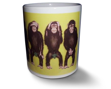 Monkey here no evil speak no evil Humorous mug